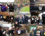 Group of photos of people marking White Ribbon Day 2019