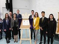 Image of people at the official opening of Brecon High School