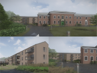 Collage of images showing plans for Neuadd Maldwyn in Welshpool