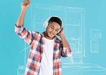 Image of a young boy listening to music