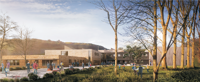 Image of the proposed design of the new school at Bro Hyddgen, Machynlleth