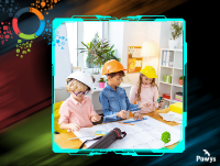 Image of three children wearing hard hats in a classroom looking at building design papers