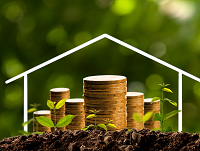 Image of money growing from soil with a house outline background