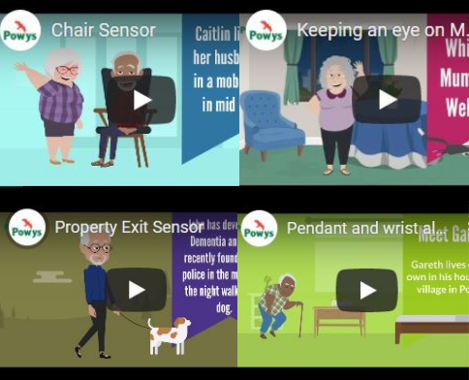 A collage of images showing care equipment available. These are screenshots of videos.