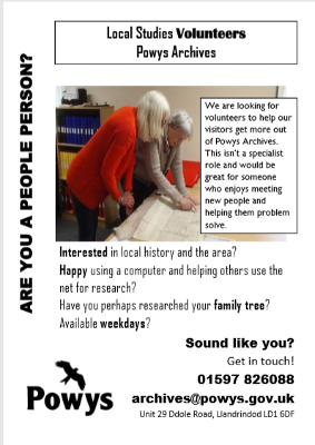 Local Studies volunteering at Powys Archives Poster