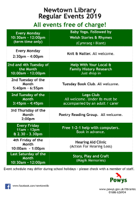 Newtown Library Regular Events