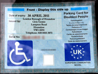 Image of a blue badge