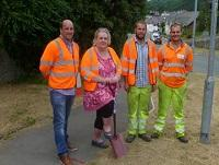 Image of the turf cutting ceremony for the safe routes scheme in Knighton