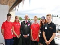 Image of young firefighters meeting the Chairman of Powys County Council