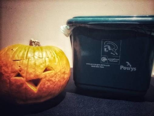 Image of a pumpkin next to a recycling bin