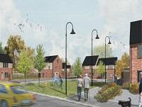 Image of artists impression of new social housing in Brecon